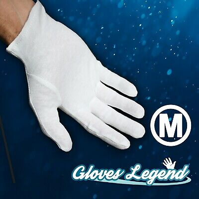 6 Pairs White Coin Jewelry Silver Inspection Cotton Lisle Gloves - Size Medium