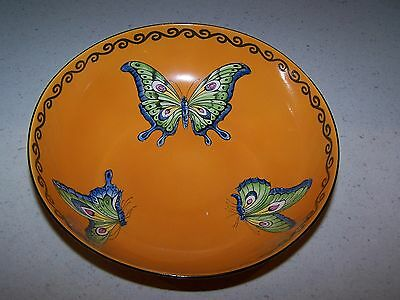 Orange Color Bone China 8'' Bowl With Butterflies - Regal Ware R.p. Co. England