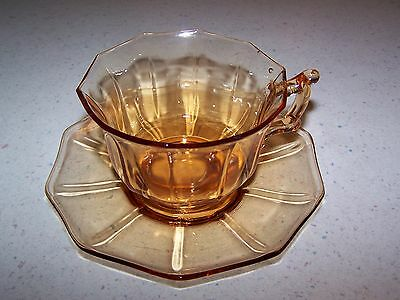 Beautiful Signed Cambridge Depression Glass Decagon Amber Cup And Saucer