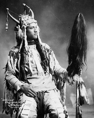 New 11x14 Native American Photo: Defiance, North American Indian in Native Dress