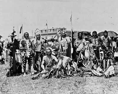 New 11x14 Native American Photo: Chief Running Wolf & Party of Blackfoot Indians