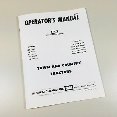 Minneapolis Moline 108 110 112 Town and Country Tractors owners operator manual