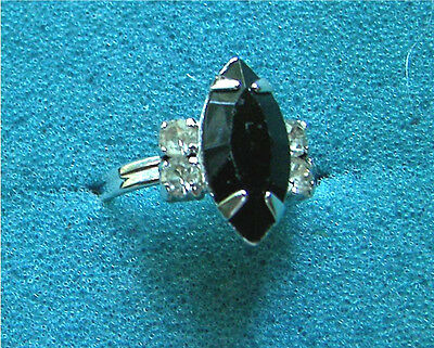 """""""JET NAVETTE"""" Silver Tone Ring with Black Stone - Sarah Coventry Jewelry - Vtg"""