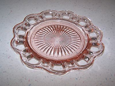Old Colony / Lace Edge Open Lace Pink Depression Glass Saucer - Hocking