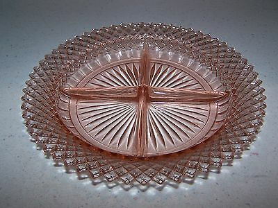 Beautiful Miss America Pink Depression Glass 4 Part Relish Dish 8 3/4''