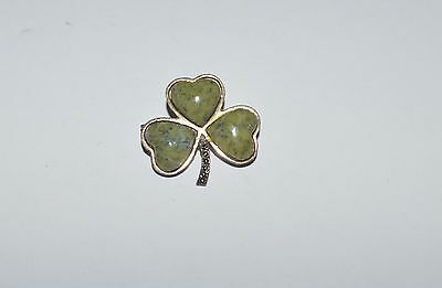Vintage Ireland Sterling Silver Marcasites And Connemara Marble Clover Pin Brooc