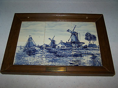 Beautiful Delft Holland Blue 6 Tile Wall Hanging Picture - Windmills Boats Water