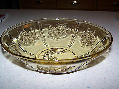 Sharon Cabbage Rose Amber Depression Glass Salad / Fruit / Berry 8 1/2'' Bowl