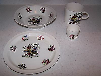 4 Piece Childs Dish Set - Plate - Bowl - Mug - Egg Cup - Arklow Made In Ireland