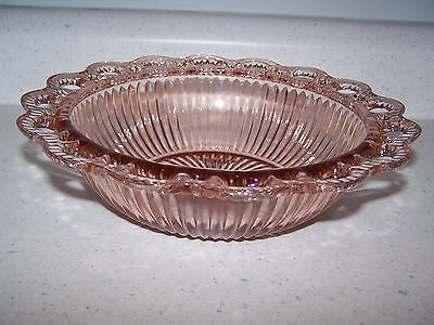 Old Colony / Lace Edge Open Lace Pink Depression Glass 9 1/2'' Ribbed Fruit Bowl