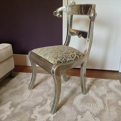 Vintage Set of 4 Rams Head Chairs Silver on Wood Anglo Indian Raj Reupholstered
