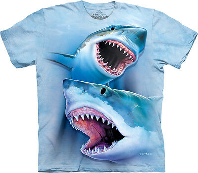 The Mountain Great White Sharks Kids T-Shirt - 100% Cotton Short Sleeve Blue