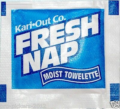 100 KARI-OUT Disposable Scented Fresh Naps Moist towelettes Hand / Face Napkins
