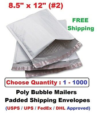 #2 8.5x12 Poly Bubble Mailers Padded Shipping Envelopes Bags 1 10 25 50 100 1000