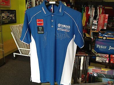 VALENTINO ROSSI, JORGE LORENZO, YAMAHA RACING MOTOGP CREW POLO, SIGNED by BOTH