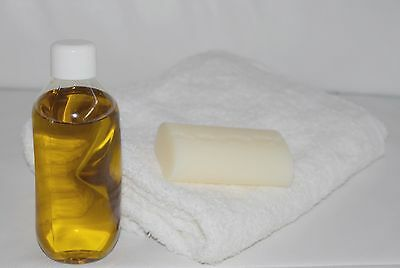Baby Bath Gift Set - Massage Oil Natural Soap Bar Hand Towel