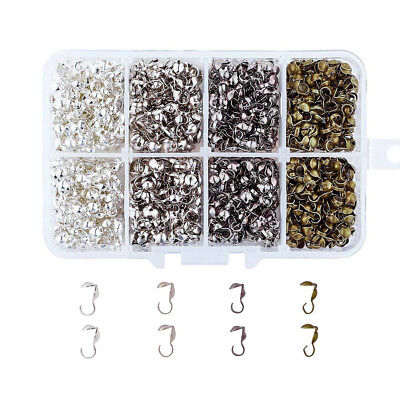 1000pcs/Box Iron Bead Tips Knot Cover Double Clam Shell Crimp End Findings 9x3mm