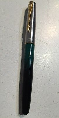 Vintage Parker Frontier Marble Green & Gold Fountain Pen