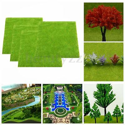 4pcs of Sand Table Scale Model Train Layout Hairy Grass Mat 0.25x0.25m Green HO