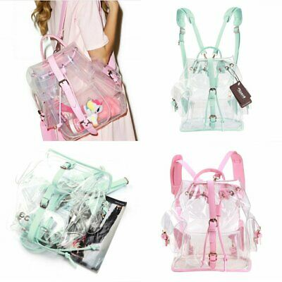 Girl's Lovely Clear Backpack Clear Transparent Candy Bag Satchel Tote School Bag