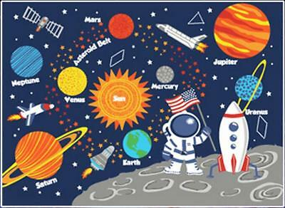 Kids Rug Children's Fun Area Rug Nursery Rugs Solar System Rectangle Rug