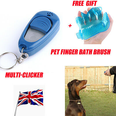 Dog Training Multi Clicker w/ Volume & Tone Control + Free Pet Finger Bath Brush
