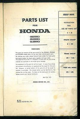 Parts List HONDA CB 250 K3 - CB 350 K3 - CL 350 K3 - Catalogue des pièces Manual