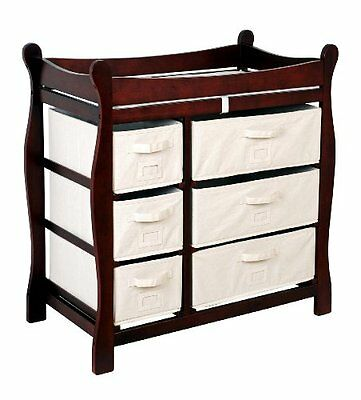 Badger Basket Baby Changing Table with Six Baskets, Cherry