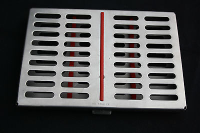 1 Sterilization Cassette Rack with Red for 10 Dental Surgical Instruments CE.