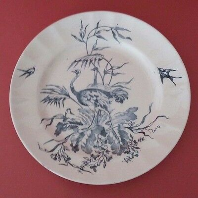 Rare Antique French Majolica Plate Of Longchamp Congo Model - Ostrich Decor
