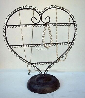 Heart Metal Earring Tree Jewellery Display Stand Grey Shabby Chic Necklace New