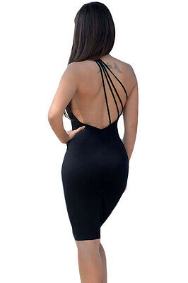 Sexy Ladies Black Strappy One Shoulder Bodycon Mini Backless Party Dress 10/12