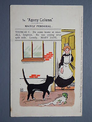 R&L Postcard: Comic, Misch & Stock Agony Column, Cat, Mary Jane, Spilled Milk