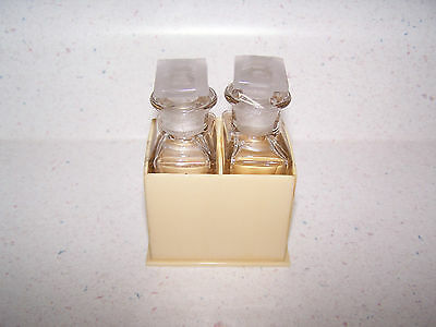Vintage Pair Of Clear Glass Perfume Bottles With Stoppers In Celluloid Holder