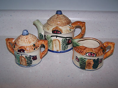 Beautiful Occupied Japan Tea Pot Creamer And Covered Sugar Bowl Set