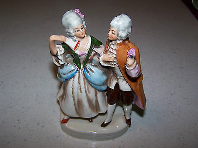 Germany 19095 Victorian Lady And Gentleman Double Porcelain Figurine / Ornament