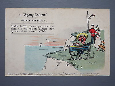 R&L Postcard: Comic, Misch & Stock Agony Column, Mary Jane Soldier Pram