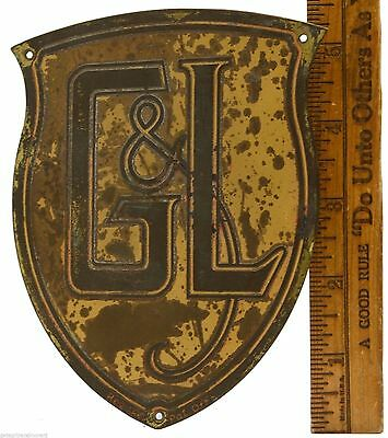 "Vintage BRASS NAME PLATE 5.5"" Yellow Shield Logo ""G&L"" MACHINERY COMPANY Plaque"