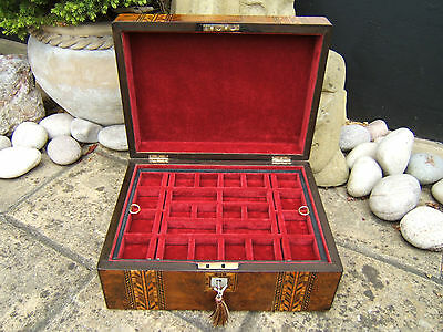 LOVELY 19c FIGURED WALNUT INLAID ANTIQUE JEWELLERY BOX - FAB INTERIOR