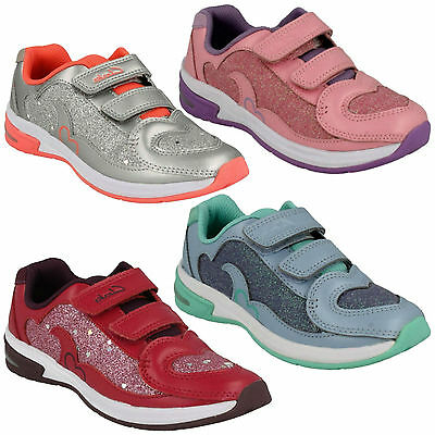 Infants Girls Clarks Leather Glitter Lights Riptape Trainers Shoes Piper Chat