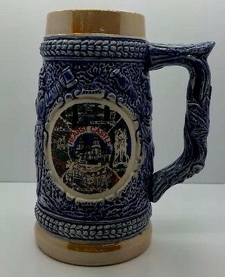 HEARST CASTLE CA Vtg 50s Blue Porcelain Hand Painted Coffee Mug Rare Collectable