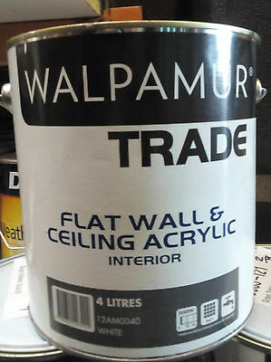 Walpamur Trade Paint White Interior 4L Flat Can Freight Wall And Ceiling