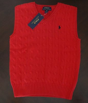 NWT Ralph Lauren Boys Sleeveless Red Cable Sweater Vest 8 14/16 18/20 $45 NEW