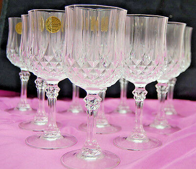 Set of 10 Cristal D'Arques Longchamp Crystal Wine Glass Goblets [S6444]