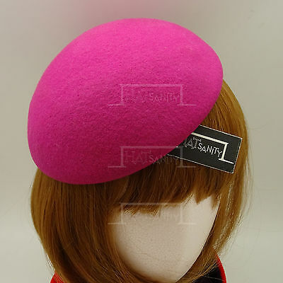 VINTAGE Wool Felt Ladies Beret Pillbox Hat Women DIY Plain Fascinator | Magenta