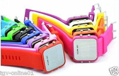 Jelly Silicone LED Digital Men Womens Square Creative Watch Mirror Sport Watches
