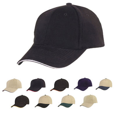 1 DOZEN Brushed Sandwich Cotton 6 Panel Baseball Hats Caps WHOLESALE BULK