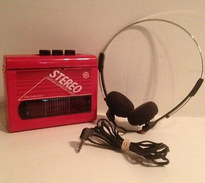 Vintage General Electric 3-5460A Red Stereo Headset Cassette Player