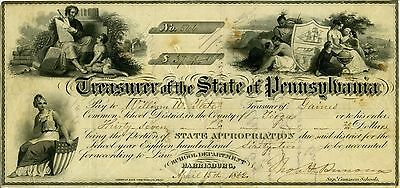 Treasurer Of The State Of Pennsylvania 1862 Great Graphic Appeal