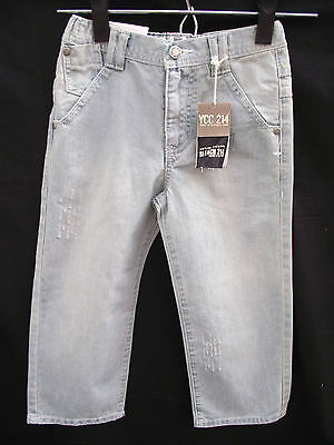 BNWT Boys Sz 12 YCC Designer Faded Blue Ripped Pocket Distressed Jeans RRP $45
